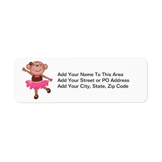 Bailarina do macaco etiqueta endereço de retorno