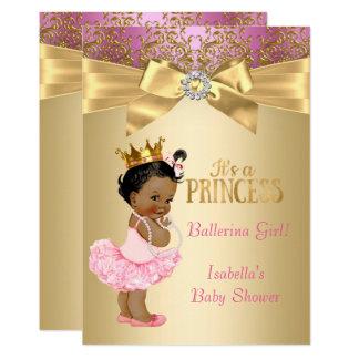 Bailarina do ouro do rosa da princesa chá de convite 12.7 x 17.78cm