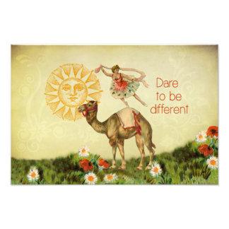 Bailarina do vintage, flores, e colagem do camelo impressão de foto