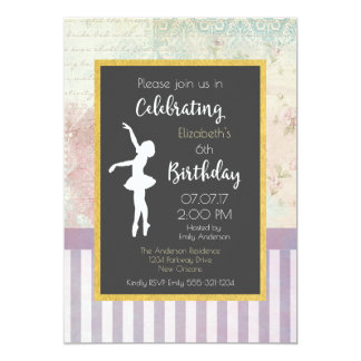 Bailarina na festa de aniversário gasto do design convite 12.7 x 17.78cm