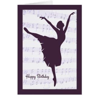 Bailarina na frente do cartão de aniversário da