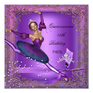 Bailarina roxa 2 da 15a festa de aniversário de convite quadrado 13.35 x 13.35cm