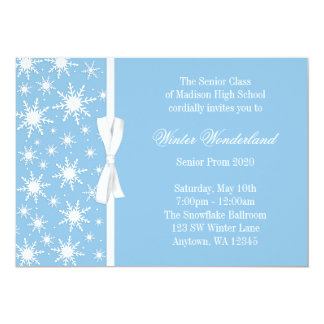Baile de formatura azul do arco dos flocos de neve convite 12.7 x 17.78cm
