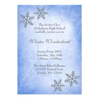 Baile de formatura azul dos flocos de neve do país convites