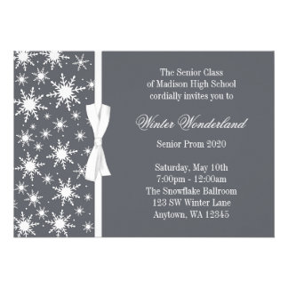 Baile de formatura cinzento do arco dos flocos de  convite personalizado