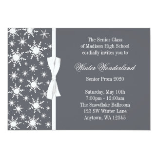 Baile de formatura cinzento do arco dos flocos de convite 12.7 x 17.78cm
