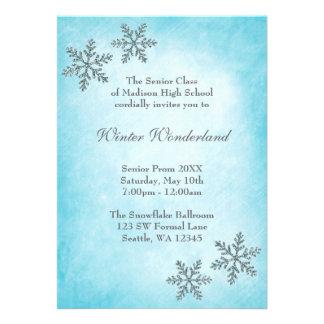 Baile de formatura da cerceta dos flocos de neve d convites personalizado