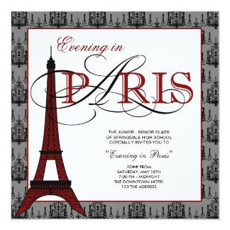 Baile de formatura elegante de Paris da torre Convite Quadrado 13.35 X 13.35cm