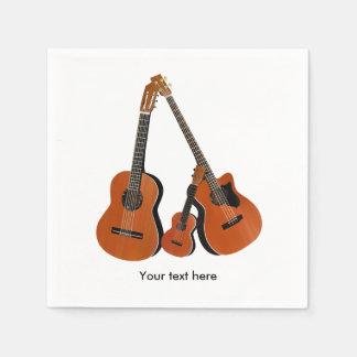 Baixo acústico e Ukulele da guitarra popular Guardanapo De Papel