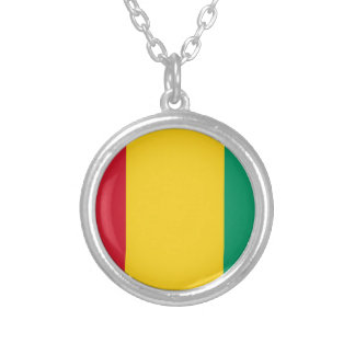 Baixo custo! Bandeira da Guiné Colar Banhado A Prata
