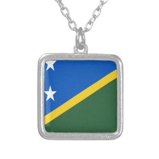 Baixo custo! Bandeira de Solomon Island Colar Banhado A Prata