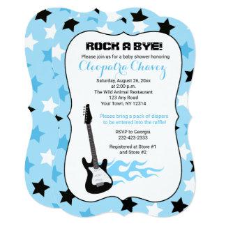 Balance um chá de fraldas azul da guitarra da convite 12.7 x 17.78cm