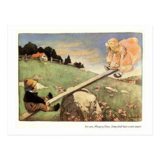 Balanço, rima de berçário de Margery Daw Cartão Postal
