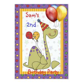 Balão Brights do dinossauro do segundo aniversário Convite 12.7 X 17.78cm