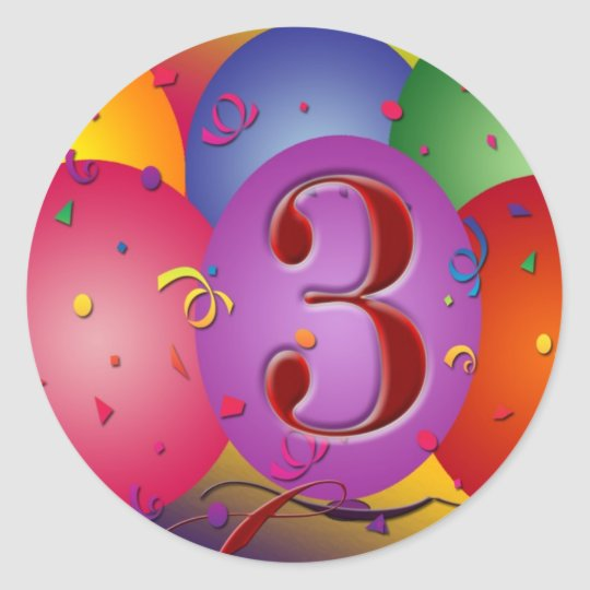 Balão colorido do aniversário de 3 anos adesivo redondo