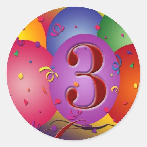Balão colorido do aniversário de 3 anos adesivos redondos