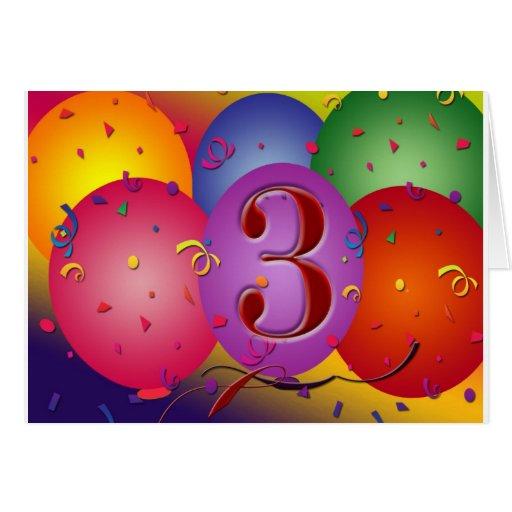 Balão colorido do aniversário de 3 anos cartão comemorativo