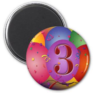 Balão colorido do aniversário de 3 anos ima