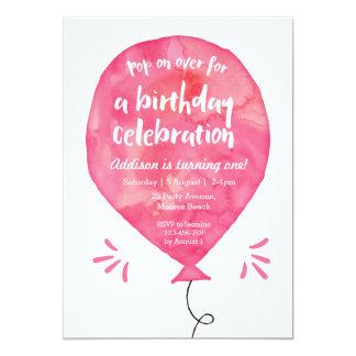 Balão cor-de-rosa do Watercolour do convite   do