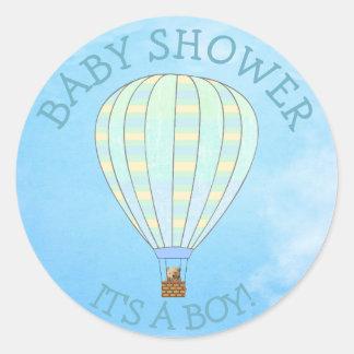 Balão de ar quente, seu um menino, etiquetas do