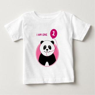 Balão do rosa da panda do primeiro aniversario camiseta para bebê