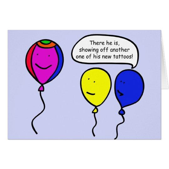 Balão do tatuagem cartão comemorativo