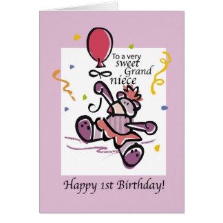 Balão do urso do primeiro aniversario do cartão