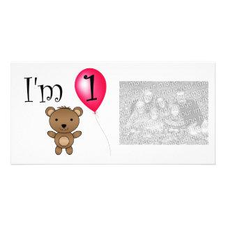 Balão do vermelho do urso do primeiro aniversario cartões com fotos personalizados