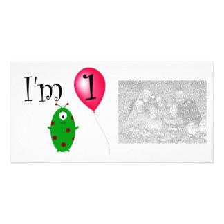 Balão vermelho estrangeiro do primeiro aniversario cartões com fotos
