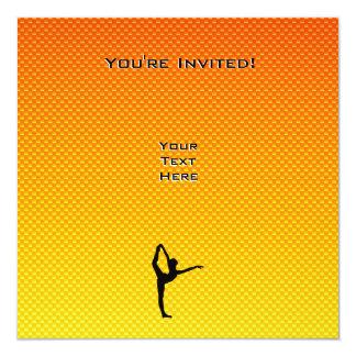 Balé amarelo alaranjado convite quadrado 13.35 x 13.35cm