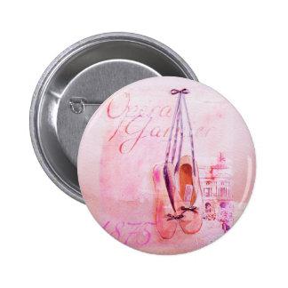 Balé cor-de-rosa do dançarino da bailarina da agua bóton redondo 5.08cm