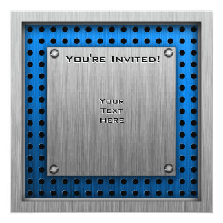 Balé escovado do Metal-olhar Convite Quadrado 13.35 X 13.35cm
