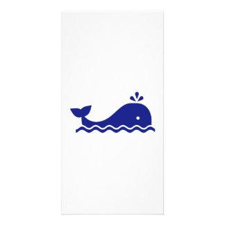 Baleia azul cartão com foto