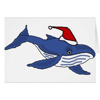 Baleia azul engraçada na arte do Natal do chapéu Cartão Comemorativo