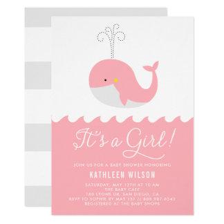 Baleia bonito do bebê azul é um chá de fraldas da convite 12.7 x 17.78cm