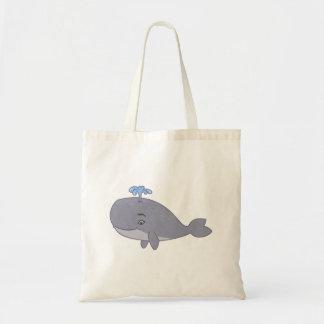 Baleia bonito dos desenhos animados bolsas de lona
