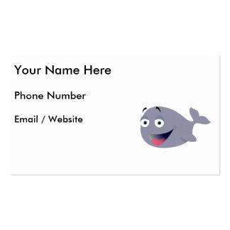 Baleia dos desenhos animados, mamífero do mar cartão de visita