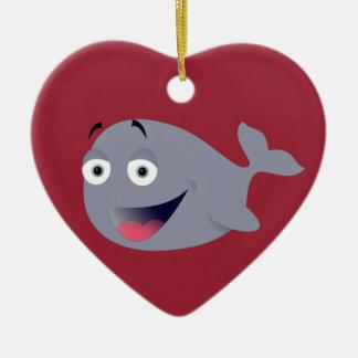Baleia dos desenhos animados, mamífero do mar ornamento de cerâmica coração