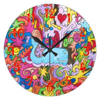Baleia psicadélico relógio grande