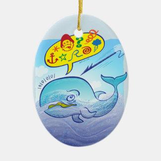 Baleia selvagem que diz palavras más ao fujir o ornamento de cerâmica