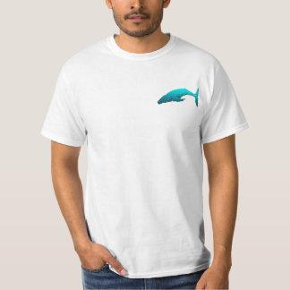 Baleia traseira da corcunda - azul camiseta