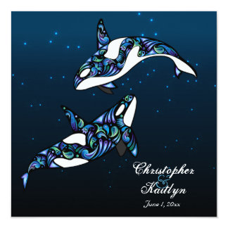 Baleias bonitas da orca que Wedding o convite