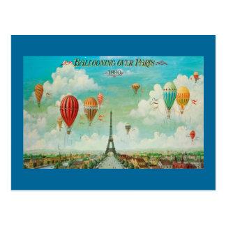 Ballooning sobre o cartão das viagens vintage de