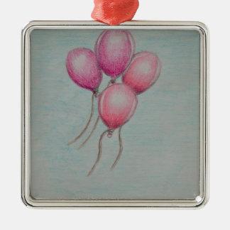 balloons o aniversário ornamento quadrado cor prata