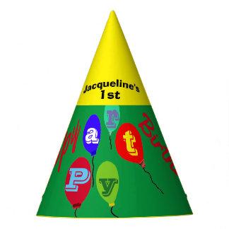 Balões amarelos verdes festivos do chapéu do