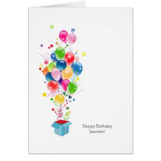 Balões coloridos customizáveis dos cartões de