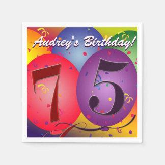 Balões coloridos do aniversário para o 75th guardanapo de papel