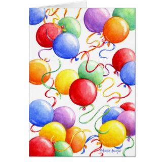 Balões coloridos do cartão do aniversário