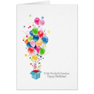 Balões coloridos dos cartões de aniversário da avó