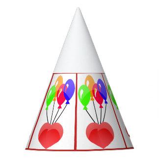 Balões coloridos projetados no chapéu do partido